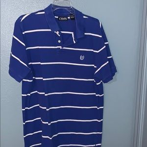 Blue and white stripe Chaps polo style